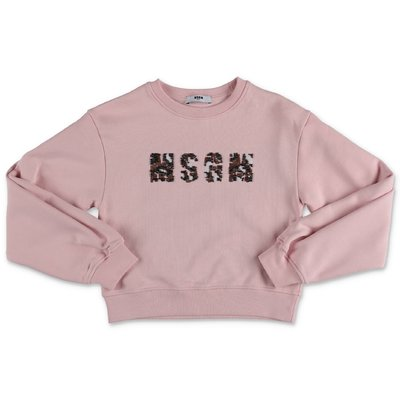 MSGM powder pink logo detail cotton sweatshirt