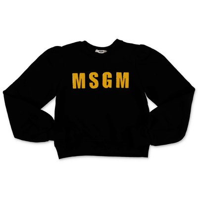 MSGM logo black cotton sweatshirt