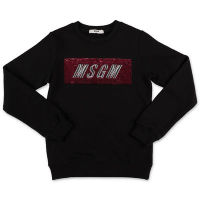 MSGM black logo box cotton sweatshirt