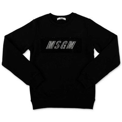 MSGM felpa nera in cotone con logo box