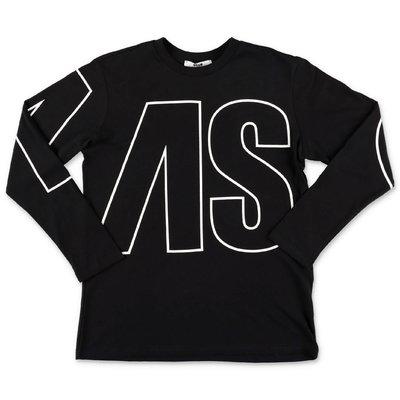 MSGM t-shirt nera in jersey di cotone con logo