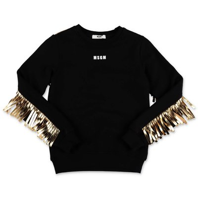 MSGM black cotton sweatshirt with gold fringe detail