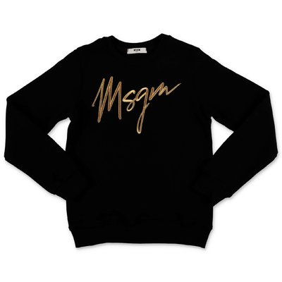 MSGM felpa nera in cotone con logo