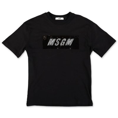 MSGM logo black cotton jersey maxi t-shirt