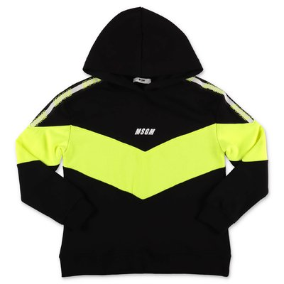 MSGM black fluorescent logo cotton hoodie