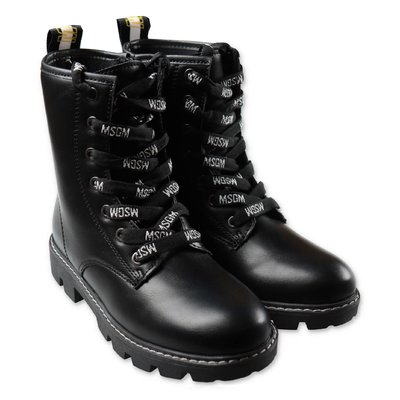 MSGM black faux leather combat boots