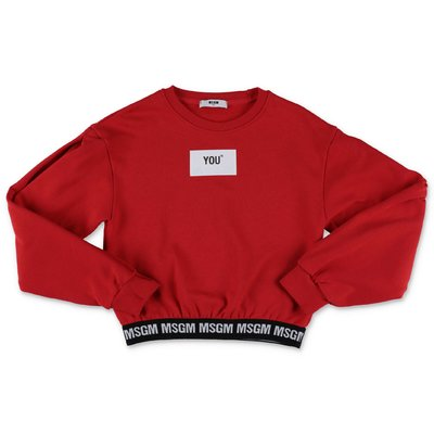 MSGM red logo detail cotton sweatshirt