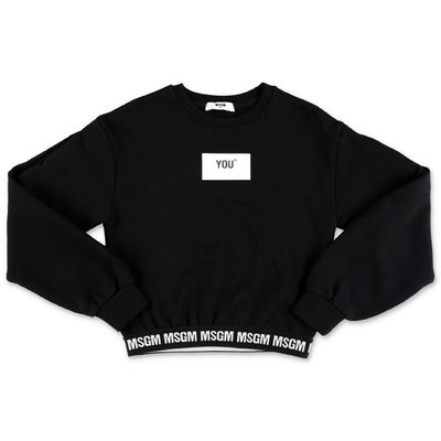 MSGM black logo detail cotton sweatshirt