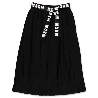 MSGM black crepe de chine pleated midi skirt