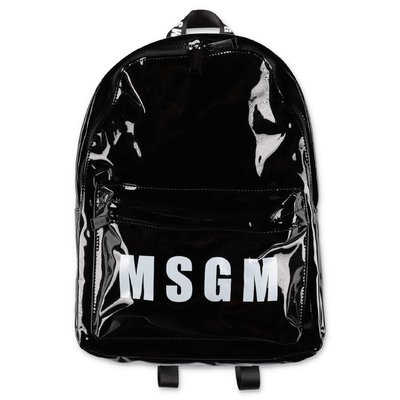 MSGM black logo detail mirrored pvc backpack