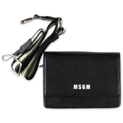 MSGM black faux leather clutch