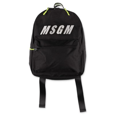 MSGM black logo detail nylon backpack