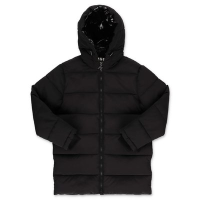 MSGM black nylon down jacket with hood