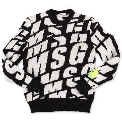 MSGM black and white logo detail knit jumper