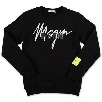 MSGM black logo detail cotton sweatshirt