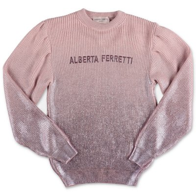 Alberta Ferretti pullover rosa e argento in misto lana merino