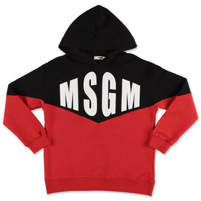 MSGM color blocking cotton hoodie