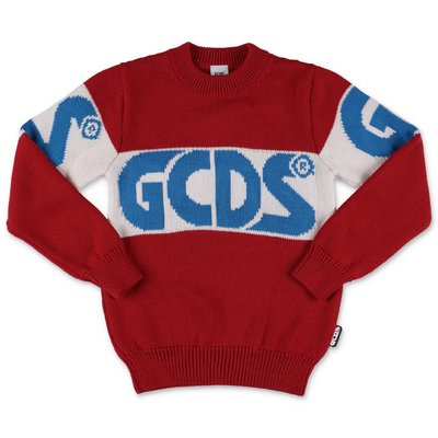 GCDS red wool blend knit jumper