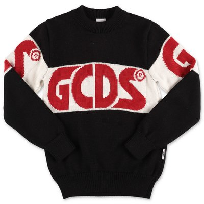 GCDS black merino wool blend jumper