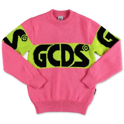 GCDS fluorescent pink wool blend knit jumper