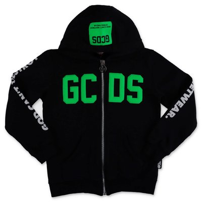 GCDS black cotton sweatshirt hoodie