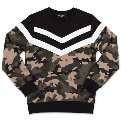 Neil Barrett black cotton camouflage detail sweatshirt