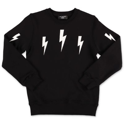 Neil Barrett black cotton sweatshirt with Thunderbolts