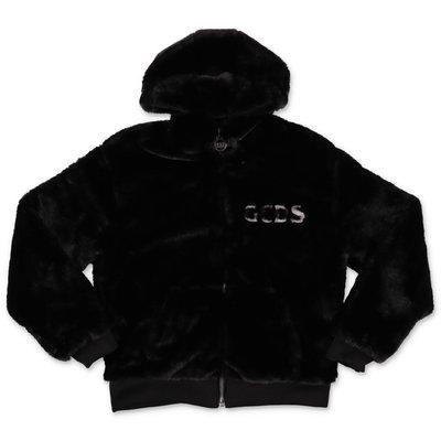 GCDS black faux fur hooded jacket