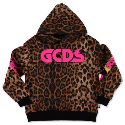 GCDS animal print cotton hoodie