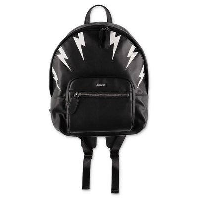 Neil Barrett black faux leather backpack with Iconic Thunderbolts