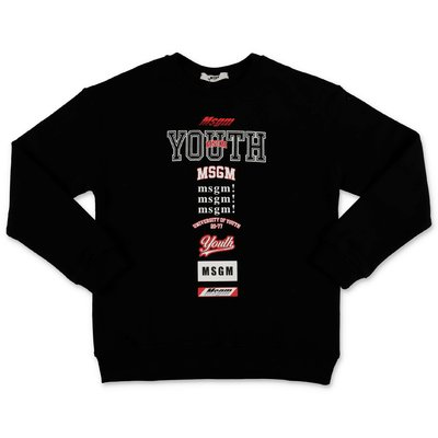 MSGM ''Youth'' black cotton sweatshirt