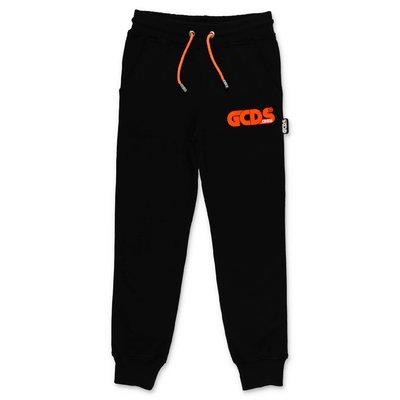 GCDS pantaloni neri in felpa di cotone