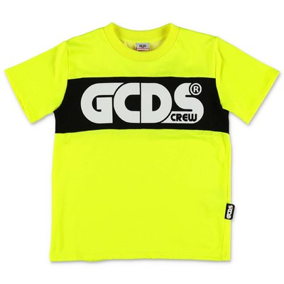 GCDS fluorescent yellow cotton blend t-shirt