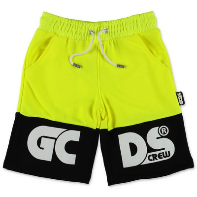 GCDS fluo yellow cotton sweat shorts