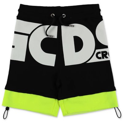 GCDS black cotton sweat shorts