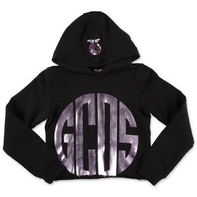 GCDS black cotton cropped hoodie