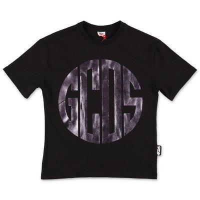 GCDS t-shirt nera in jersey di cotone