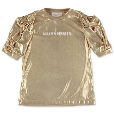 Alberta Ferretti gold effect techno fabric blouse