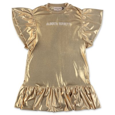 Alberta Ferretti golden techno fabric dress