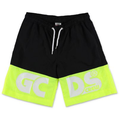 GCDS black nylon swim shorts