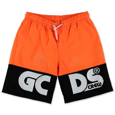 GCDS fluo orange nylon swim shorts