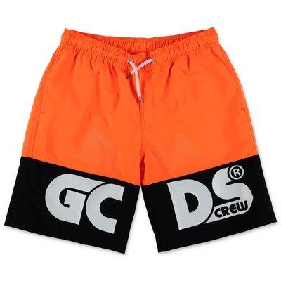 GCDS costume shorts da mare arancio fluo in nylon