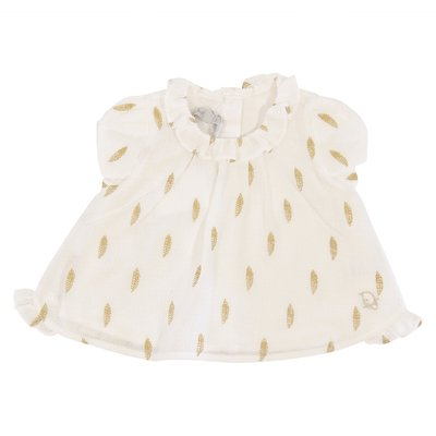 Baby Dior white cotton blouse with golden details