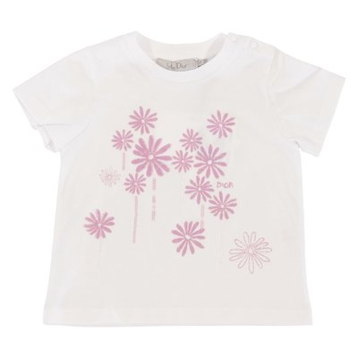 Baby Dior white logo detail cotton jersey t-shirt