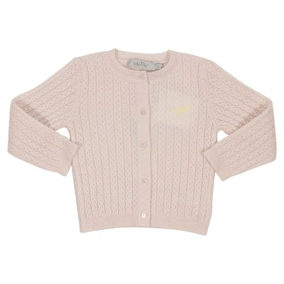 Powder pink wool and cashmere knit cardigan