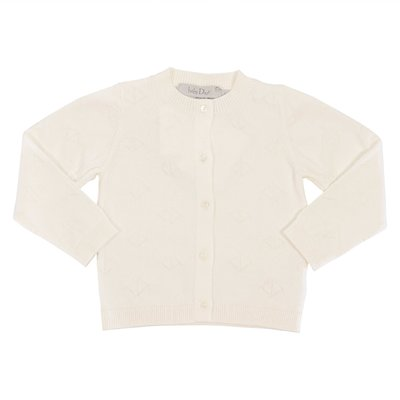 Baby Dior white cotton knit cardigan