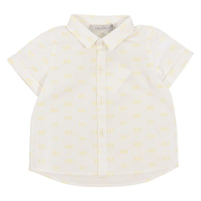 Baby Dior white logo detail cotton poplin shirt