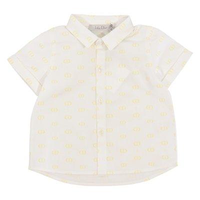 Camicia bianca in popeline di cotone con dettaglio logo