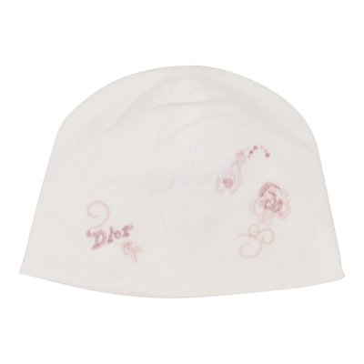 Baby Dior white logo embroidery cotton hat