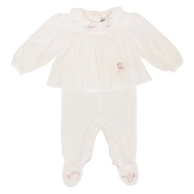 Baby Dior white cotton layered effect romper